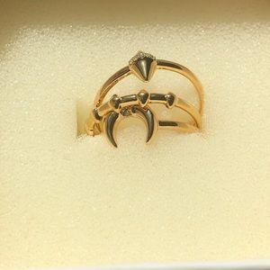 New never worn, Stella & Dot aurora ring set gold